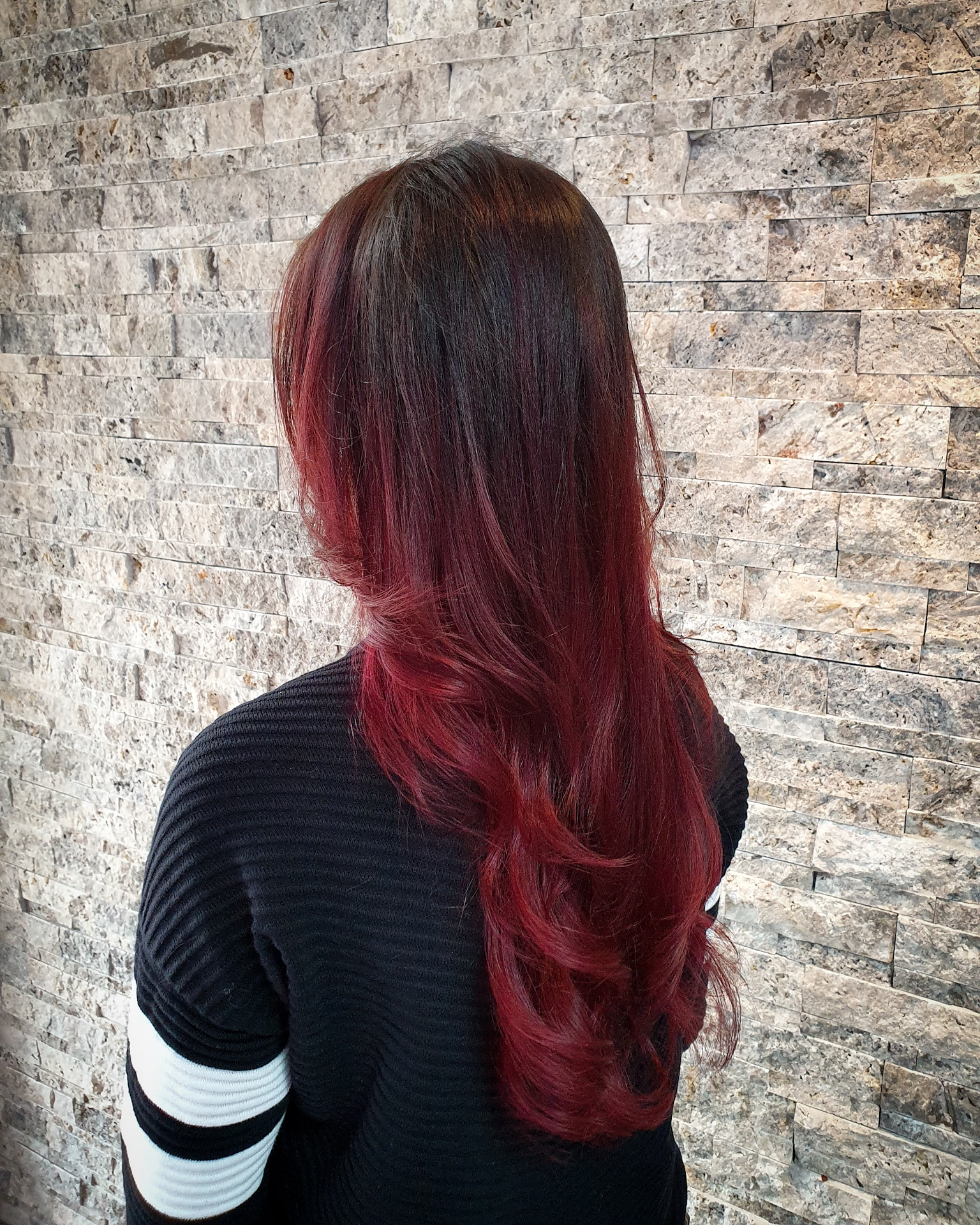 Deep Brown to Hot Red Balayage